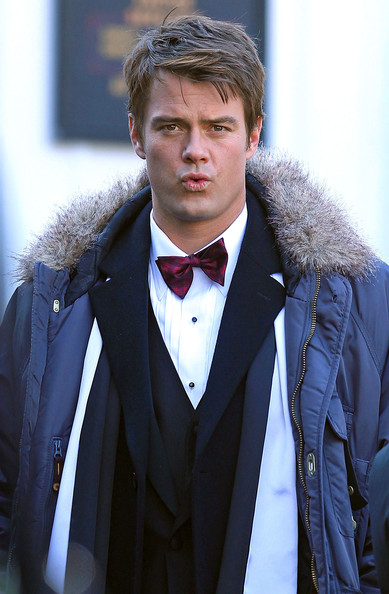Josh Duhamel Actors Josh Duhamel and Larry Miller filming a scene on the set of 'New Year's Eve' in Palisades, NY. Also on set is director Garry Marshall