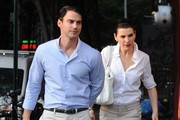 'The Good Wife' actress Julianna Margulies and husband Keith Lieberthal walking home with their son Kieran after dinner in New York City, New York on August 20, 2013.