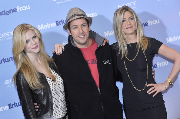 "Jennifer Aniston, Adam Sandler and Brooklyn Decker attend the photo call for ""Just Go With It"" at the Adlon hotel in Berlin."