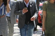Radio personality Kato Kaelin goes to lunch with friends in Beverly Hills, California onApril 5, 2017.
