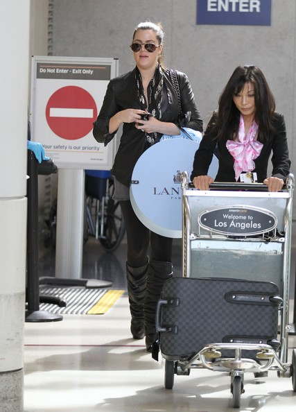 Khloe Kardashian Reality star Khloe Kardashian arrives on a flight at LAX airport in Los Angeles.