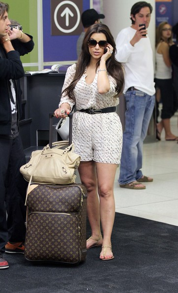 Reality TV star Kim Kardashian is pictured arriving at Los Angeles International Airport (LAX)