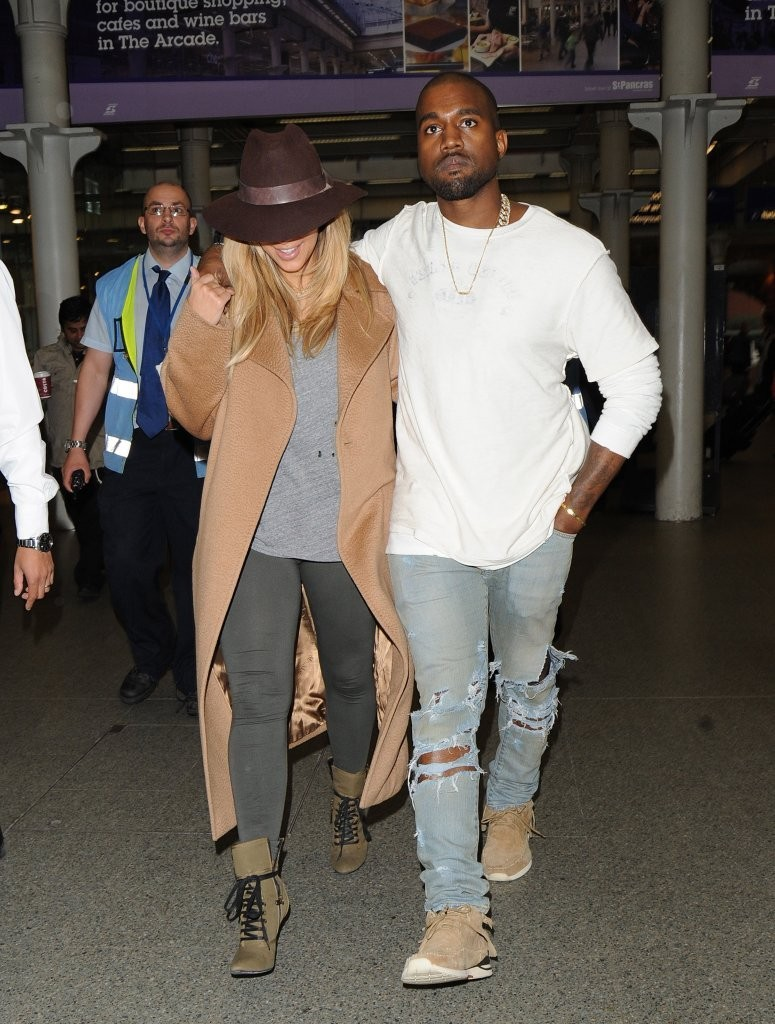 Kim Kardashian And Kanye West Arrivie In London Via Eurostar From Paris