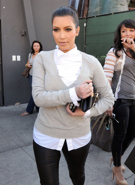 Socialite Kim Kardashian seen leaving the Breadbar with a friend after lunch in West Hollywood, CA.