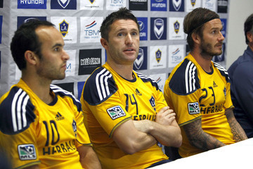 David Beckham Landon Donovan The LA Galaxy Press Conference And Training Session In Melbourne