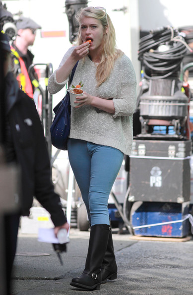 Leven Rambin Actors Logan Lerman, Alexandra Daddario, Nathan Fillion, Leven Rambin and Douglas Smith on the set of 'Percy Jackson: Sea Of Monsters' in Vancouver, Canada on April 26, 2012.<br /> <br /> Pictured: Leven Rambin