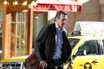 Liam Neeson Stars Perform on the Set of 'The Commuter' in NYC