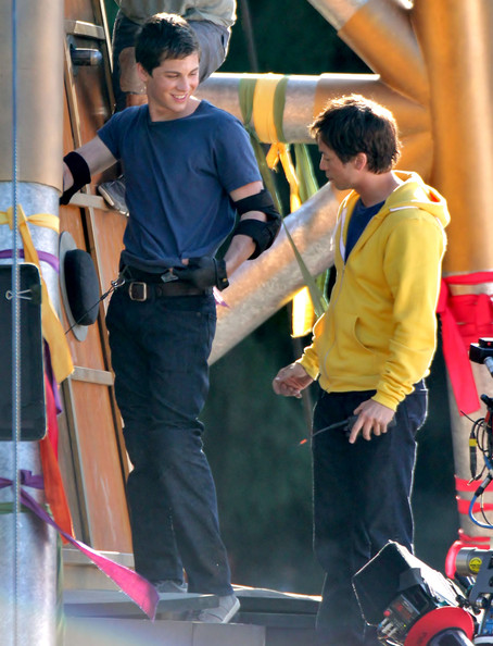 Actor Logan Lerman filming a scene on the champions course on the set of 'Percy Jackson: Sea Of Monsters' in Vancouver, Canada on May 11, 2012.