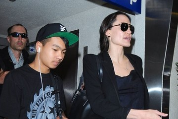 Maddox Jolie-Pitt Angelina Jolie Touches Down at LAX With Her Son