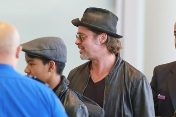 Maddox Jolie-Pitt Brad Pitt and Angelina Jolie Departing Los Angeles With Their Kids
