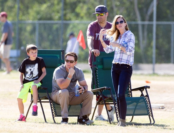 Mark Wahlberg and Rhea Durham Watch Their Son's Soccer Game