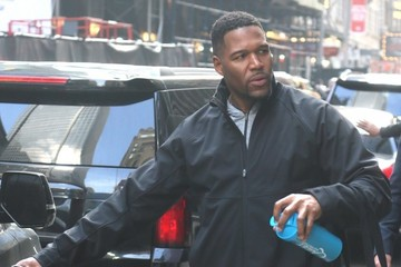 Michael Strahan Celebrites On 'Good Morning America' In NYC