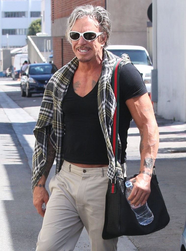 Mickey Rourke Out For Lunch At Cafe Roma - Zimbio