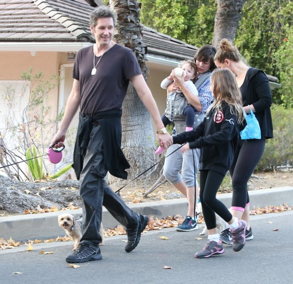 Milla Jovovich, Paul W. S. Anderson and Their Family Take the Dog for a Walk in LA