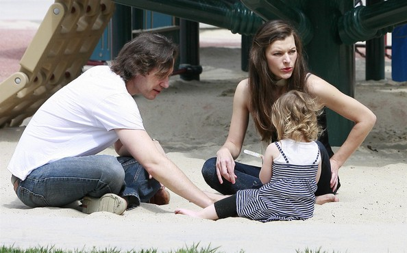 Milla+Jovovich in Milla Jovovich And Family At The Park On Father's Day 2