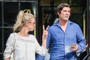 Socialites Nicky Hilton and Brandon Davis seen leaving The Bowery Hotel in New York City, New York on May 28, 2015. The pair were seen laughing and joking as they left the hotel.