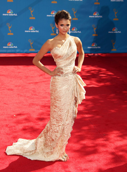 Nina Dobrev Celebrities arrive at the 62nd Annual Primetime Emmy Awards at the Nokia Theatre in LA Live in Los Angeles, CA.