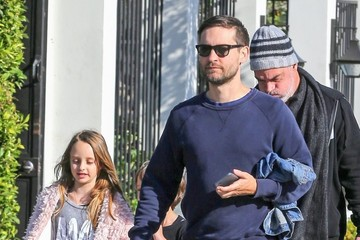 Otis Maguire Toby Maguire And Family Get Coffee At Verve In Weho