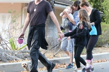 Paul W.S. Anderson Milla Jovovich, Paul W. S. Anderson and Their Family Take the Dog for a Walk in LA