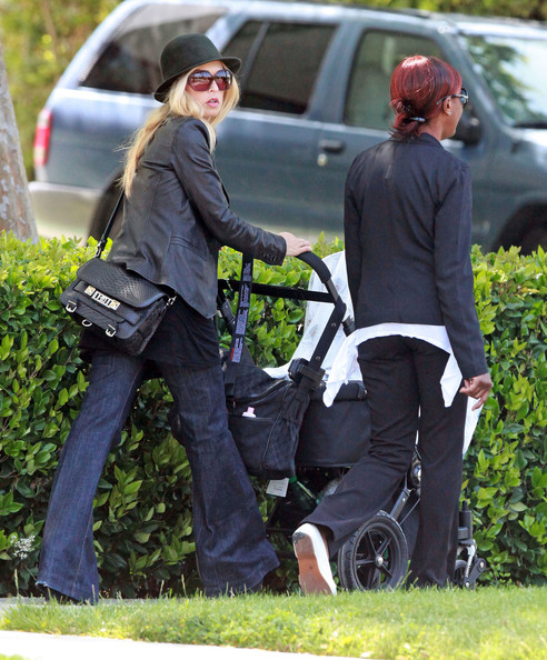 Designer Rachel Zoe and her nanny walking home with her son Skyler Berman after getting frozen yogurt at Pinkberry in Beverly Hills, CA
