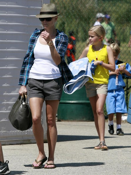 Actress Reese Witherspoon and her two kids Ava and Deacon Phillippe seen leaving Deacon's soccer game in Brentwood, CA.
