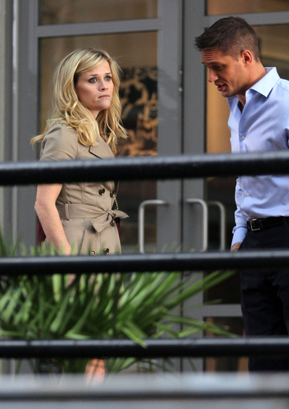 Actress Reese Witherspoon and Tom Hardy on the set of 'This Means War' in Vancouver, Canada. The two laughed and joked in between takes. Reese was also seen walking with a bodyguard.