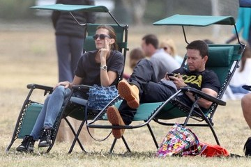 Rhea Durham Mark Wahlberg and Rhea Durham Watching Their Son Play Football