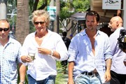 British rocker Rod Stewart is spotted out for a stroll in Beverly Hills, California with his son Sean on August 26, 2015. Rod and his family recently returned from a family getaway in Maui, Hawaii.