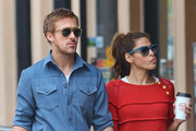 Couple Ryan Gosling and Eva Mendes hold hands after grabbing lunch in New York City, New York on May 10, 2012.