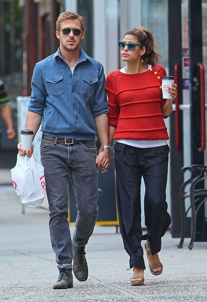 Ryan Gosling And Eva Mendes Holding Hands After Lunch [photograph,jeans,footwear,road,denim,standing,shoulder,fashion,street,textile,walking,jeans,footwear,eva mendes,ryan gosling,actor,hands,lunch,road,new york city,ryan gosling,eva mendes,hollywood,actor,celebrity,new york city,film,image,photograph]