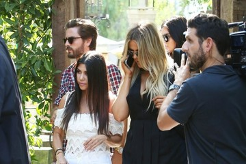 Scott Disick Kourtney and Khloe Kardashian Film 'Keeping Up With The Kardashians' in Calabasas