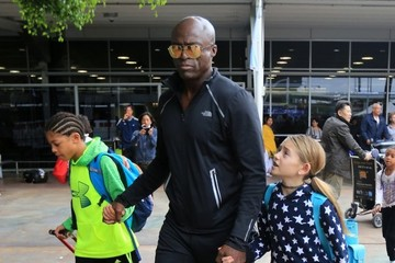 Seal Seal and His Kids Leave the Airport in Sydney