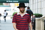 Singer Sean Lennon is spotted out for a solo stroll in New York City, New York on July 29, 2015. Sean has been busy as of late performing at various summer music festivals and concerts.