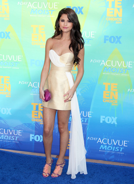 Selena Gomez Celebrities attend the 2011 Teen Choice Awards at the Gibson Amphitheatre in Los Angeles.