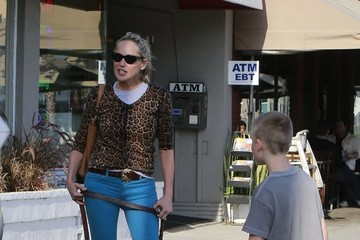 Sharon Stone Quinn Stone Sharon Stone Grabs Lunch With Her Son And Dogs