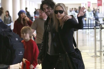 Sharon Stone Roan Bronstein Sharon Stone And Family Departing On A Flight At LAX