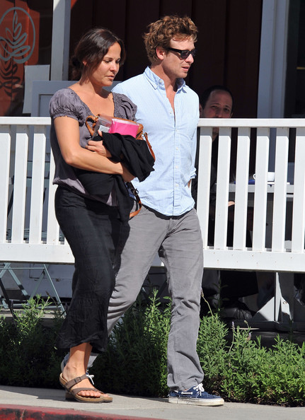 Simon Baker And Rebecca Rigg At Caffe Luxxe In Brentwood ...