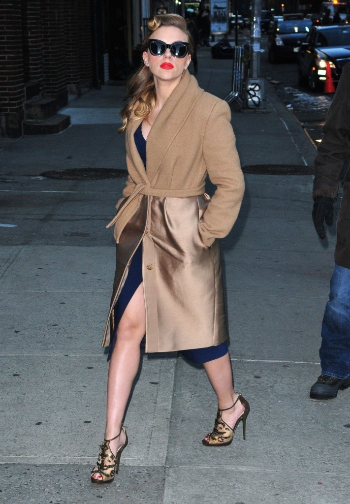 Scarlett Johansson drops by the 'Late Show with David Letterman' in New York City.