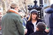 Stars on set of 'Glee' in New York City, New York on March 14, 2014.<br /> <br /> Pictured: Lea Michele, Chord Overstreet, Kevin McHale