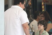 Actors Jon Favreau and John Leguizamo on the set of 'Chef' in New Orleans, Louisiana on August 18, 2013.