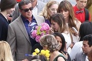 'Expendables 2' actor Sylvester Stallone attends his daughter's graduation in Brentwood, California with his wife Jennifer Flavin on June 7, 2013.