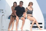 Actor Sylvester Stallone, his wife Jennifer Flavin and their three girls, Sophia, Sistine, and Scarlet enjoy their vacation on aboard yacht in St Jean Cap Ferrat, France on July 26, 2014. The family was having a great time jet skiing and Sylvester and Jennifer were having tons of fun trying to push each other off the yacht.<br /> <br /> Pictured: Sylvester Stallone, Jennifer Flavin, Sophia Stallone