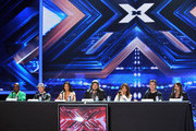 Celebrities at the 'X Factor' press conference 2011 at CBS Television City Studios Stage 36 in West Hollywood, CA... Pictured: Paula Abdul, Simon Cowell, Nicole Scherzinger