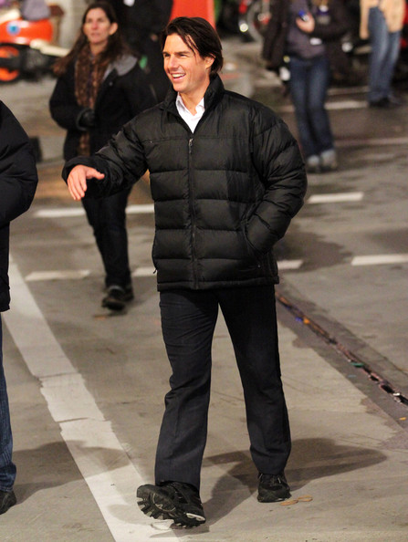 Actor Tom Cruise has a good time filming an action sequence for Mission Impossible 4 in Vancouver, BC.