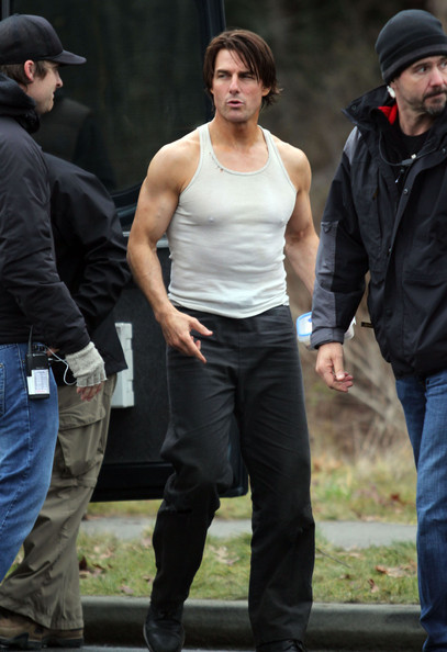 Actor Tom Cruise on the set of 'Mission Impossible 4: Ghost Protocol' in Vancouver Canada. In the scene Tom was filming in the back of a truck and even had to eat his lunch in the truck.
