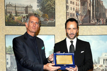 Finazzer Flory Tom Ford Receiving Award At 'A Single Man' Photocall In Milan