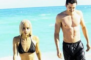 Zoe Kravitz is spotted with her boyfriend Karl Glusman on the beach in Miami, Florida on December 24, 2016. The pair played in the waves on a sunny Christmas Eve day.