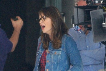 Zooey Deschanel Stars On The Set Of 'New Girl'