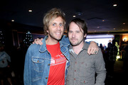 Musicians Aaron Bruno of Awolnation (L) and Brian Aubert of Silversun Pickups attend 106.7 KROQ Almost Acoustic Christmas 2015 at The Forum on December 12, 2015 in Los Angeles, California.