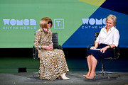 Anna Wintour and Tina Brown speak during the 10th Anniversary Women In The World Summit at David H. Koch Theater at Lincoln Center on April 12, 2019 in New York City.